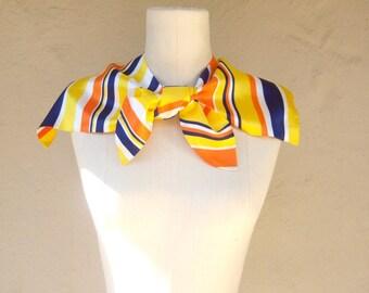 Vintage nautical scarf collar / 60s sunny striped bow scarf / yellow navy blue orange nautical collar