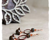NEW : Reflets d'automne (Autumn reflection) earrings – bronzite, copper, Czech glass, Swarovski crystal