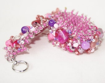 Bead Encrusted Bracelet in Dark Pink