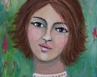 Giselle - Original Gouache Portrait Painting