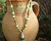 SALE, Long Jasper & Bone Necklace with Tibetan Pendant