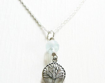 Tree of Life Pendant Necklace, Sterling Silver, Genuine Aquamarine Long Chain March Birthstone