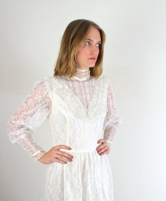 Boho Lace Wedding Dress Etsy : Boho wedding dress white lace by jessjamesjake on etsy