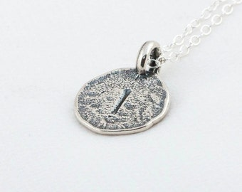 Initial I Handstamped Sterling Silver Pendant and Necklace - with Gift Box