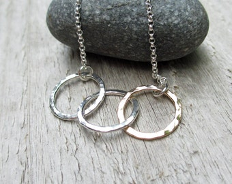 Silver & Gold Fill Circle Necklace - Sterling Silver, Rose or Yellow Gold Fill, Mixed Metal, Circle Necklace, Triple Circles, Hammered Metal