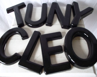 Vintage Plastic Letters -Sign Letters -  8 Inches - Black Helvetica - Choice of Letters