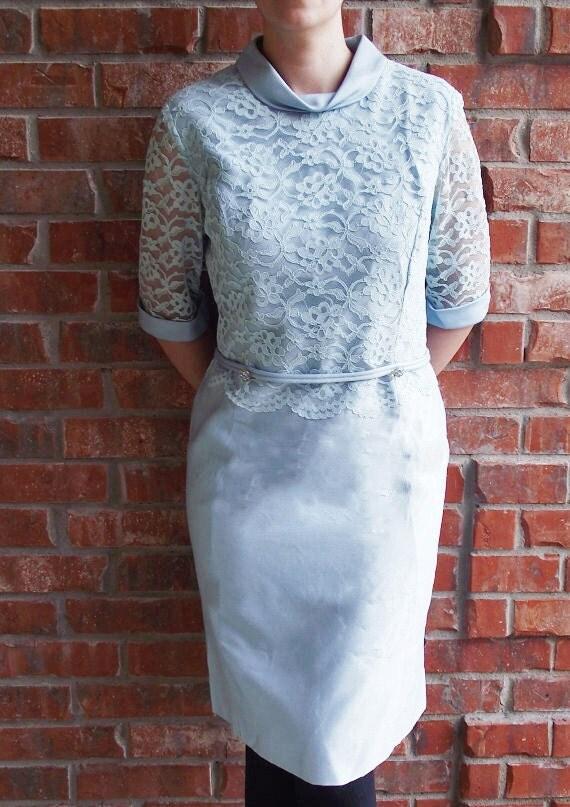 Vintage Dress Formal Lace Blue - Large - Wedding - Special Occasion Dress RESERVED