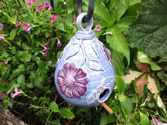 Ceramic Birdhouse Garden Art Handcrafted Pottery Gift for Gardener Mother's Day Gift