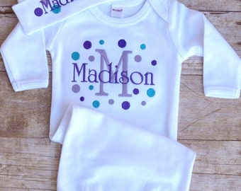 Personalized Baby Set Gown Hat  Polka Dots Newborn Beanie Cap Sleeper