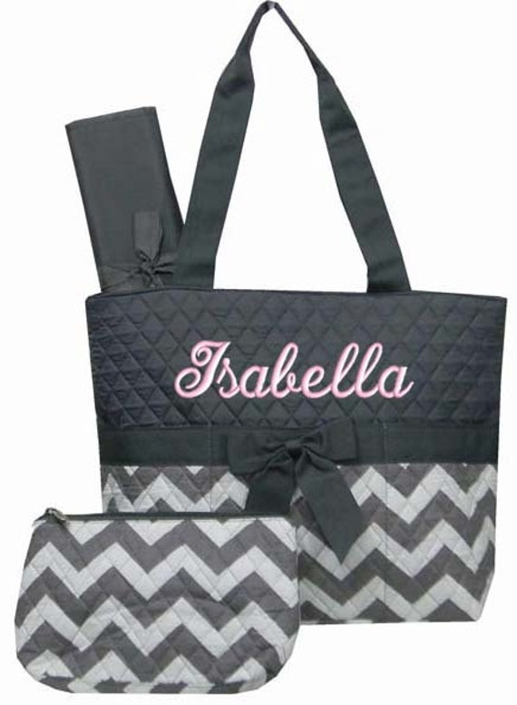 personalized diaper bag grey chevron quilted monogrammed gray. Black Bedroom Furniture Sets. Home Design Ideas