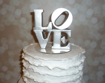 Silver love wedding cake topper