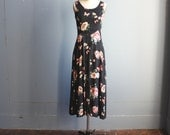 vintage corset dress / black floral grunge dress / sz 5/6