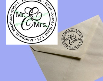 Mr. and Mrs. Round Address Stamp - Handmade by Blossom Stamps