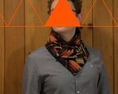 Snap Scarf - Made with Pendleton Wool - Geometric Cowl - Black, red, orange, yellow ochre. Men and Women