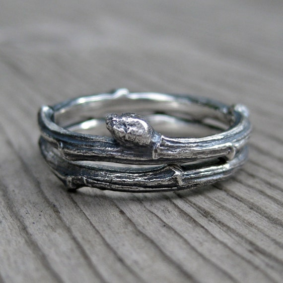 Twig Rings - Sterling Silver - Set of Two Bands - Size 6.5