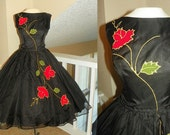 1950's Black ORGANZA Floral Painted POINSETTA Cocktail Dress Vintage 50's Holiday Christmas Couture Elegant Full Skirt RARE Party Dress