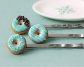Donut Hair Pins / Bobby Pins - Mint, Turquoise, Blue-Green