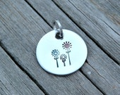 Stamped Stainless Steel Charm - Pendant - Flowers - Colors - Posies