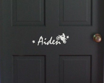 "Boys Bedroom Door Monogram 18"" X 8"" - with Motorcycle and Stars Personalized name vinyl wall decal sticker"
