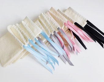 Large - plain cotton pouches with custom ribbon