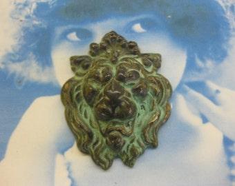 Verdigris Patina Roaring Lion Head Stampings 160VER x2