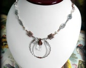 SALE!! - moon gypsy necklace, copper wire wrapped quartz pendant with silver and ivory