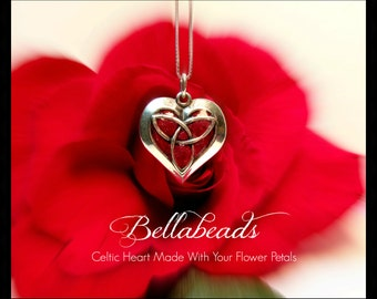 Memorial Beads,Flower Petal Jewelry,Keepsake Jewelry,Memorial Gift Idea,Made With Your Flower Petals, Celtic Pendant