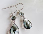 Gray Silver Earrings, Gray Crystal Dangles, Two Tier Dangles, Gray Bridesmaid Earrings, Sterling Silver, Wedding Jewelry