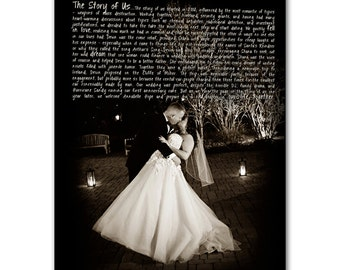 Word Art lyrics favorite song with photo Wedding vow art  Personalized Canvas Artwork 20X24 inch