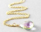 Mystic Topaz Necklace, Gemstone Pendant Necklace, Birthstone