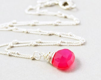 Bright Pink Necklace, Raspberry Necklace, Hot Pink Sterling Necklace
