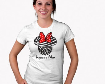 Personalized Custom Zebra Print Mouse Ears with bow Womens T Shirt