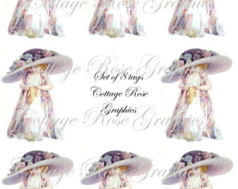 Large digital download collage1912 Dress up girl ATC ACEO gift tags ECS buy 3 get one free