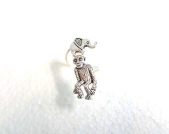 Silver monkey elephant ring, adjustable ring, animal ring, silver ring, statement ring