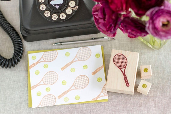 Tennis Racquet and Tennis Balls Rubber Stamp Set - Handcrafted Wood Mounted - Sports Theme Party Invitations or a Gift