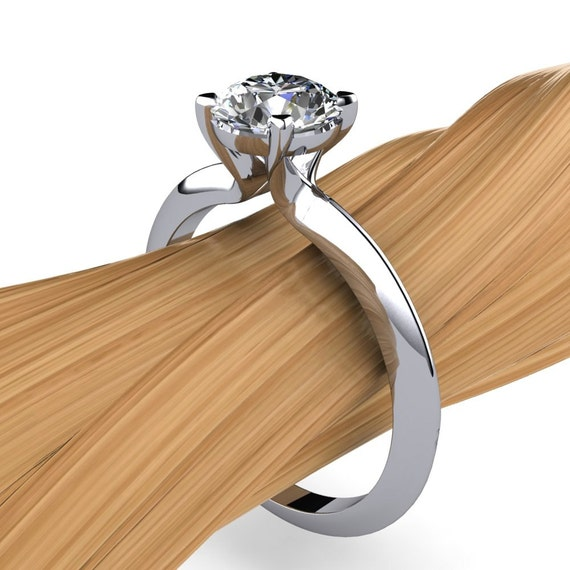 Diamond Solitaire Engagement Ring in Platinum, 1 Carat VVS1, Triangle Band - Free Gift Wrapping