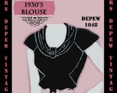 Vintage Sewing Pattern 1930's Blouse in Any Size Depew 1048 Draft at Home Pattern - PLUS Size Included -INSTANT DOWNLOAD-