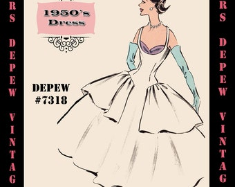 Vintage Sewing Pattern 1950's Shelf Bust Cocktail Dress in Any Size - PLUS Size Included - Depew 7318 -INSTANT DOWNLOAD-