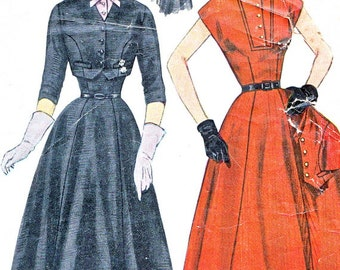 1950s Dress Pattern Simplicity 8421 Princess Seam Cap Sleeve Full Skirt Dress and Bolero Womens Vintage Sewing Pattern Bust 34
