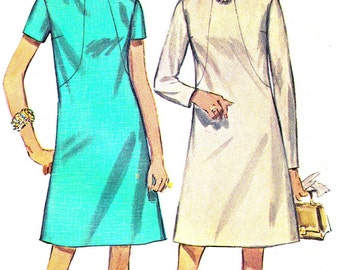 1960s Dress Pattern Simplicity 7807 High Collar A Line Mod Day Evening Dress Womens Vintage Sewing Pattern Bust 37