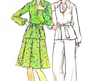 Two Piece Dress Long Sleeve Split Neck Tunic Pleated Skirt or Pants 1970s Womens Vintage Sewing Pattern Butterick 3620 Bust 36 Uncut