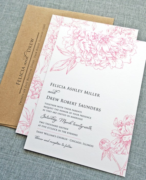 Felicia Pink Peony Flower Wedding Invitation Sample - Recycled Kraft Envelope, Rustic Floral Wedding Invitation