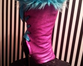 Pair Cotton Candy Pink & Electric Blue Faux Fur Trim Lace Up Spats SALE