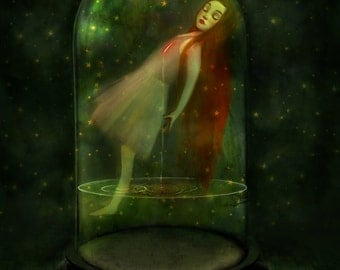 Sorrow Seeping 11X14 print  - melancholy girl in belljar sleepwalking green art inner strength - art by Lisa Falzon