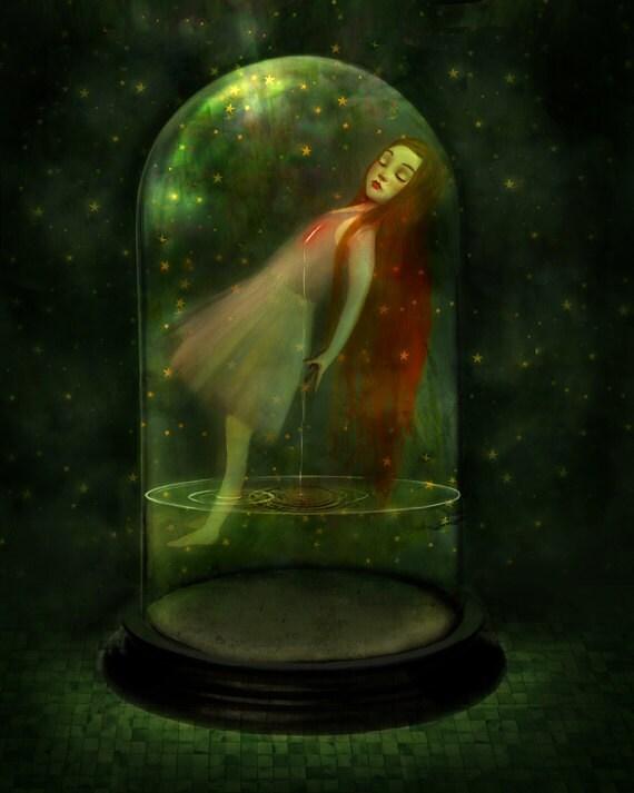 Sorrow Seeping 8X10 Print | melancholy girl in belljar sleepwalking green art inner strength - art by Lisa Falzon -- 8X10