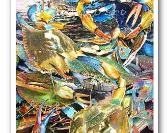 """Maryland Crabs 13x19"""" """"Live Blue Crabs"""" Art Print Signed and Numbered"""