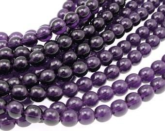 50 TANZANITE 6mm Beads Czech Glass Beads - Dark Purple Beads Deep Violet Purple - 6mm Round Pressed Glass Druks
