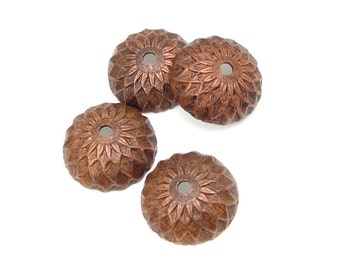 4 Acorn Caps - Vintaj Artisan Copper 13mm Acorn Bead Caps Lightly Aged Antique Copper Acorn Beadcaps Fall Autumn Supplies Findings CBC0001