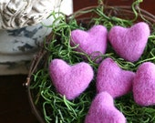 Pink Felted Hearts, Felted Wool Hearts, Set of 5 with Nest, Valentine's Day, Felt Hearts