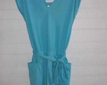 Summery Peacock Blue Peekaboo Back Short Knit Romper Vintage 80s M